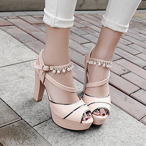 verano para exterior el comodidad sandalias ZHZNVX tacón mujer toe de bloque azul polipiel rosa peep de White Zapatos blanco q7XXHw6B