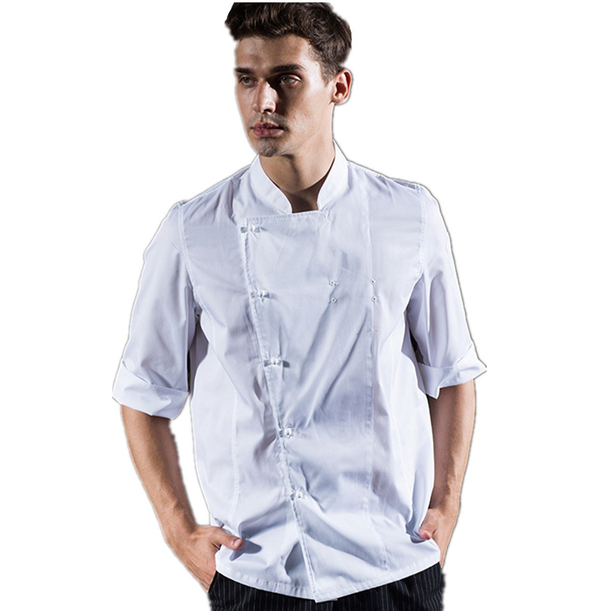 XINFU Chef Coat Men's Single-Breasted Front Placket Opening White A Thin Summer Dress for Chefs