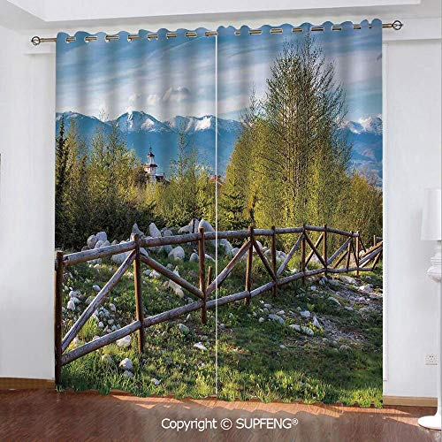 (FashSam Heat Insulation Curtain Idyllic Scene with Tree Trunk Plank and Snow Mountain Range The Alps Photo (2 Panels Measures: 84W x 63L Inch) Privacy Excellent Touch Environmentally Friendly)