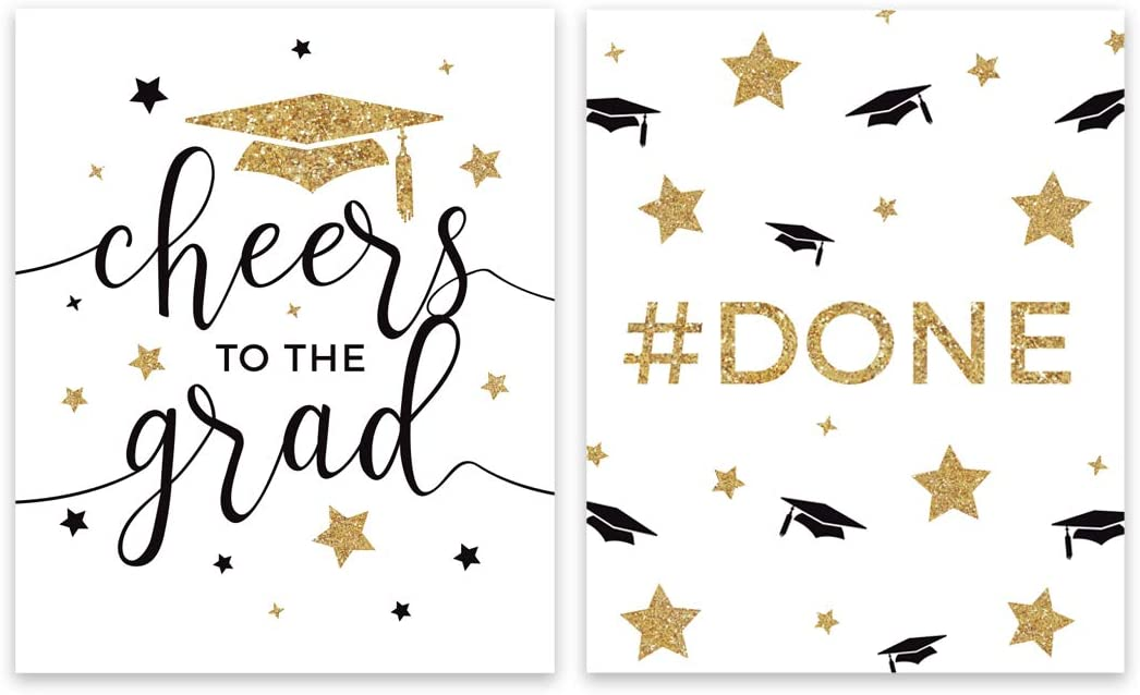 Andaz Press White and Gold Glittering Graduation Party Collection, Wine or Apple Cider Bottle Labels, 8-Pack