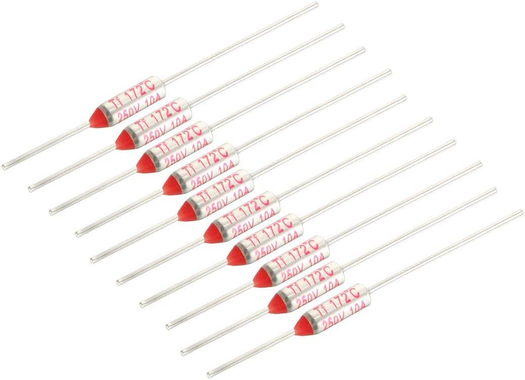 Sourcingmap 250/V 10/A 172/℃ Celsius Circuit Cut Off Temp/érature fusible thermique 10/pcs