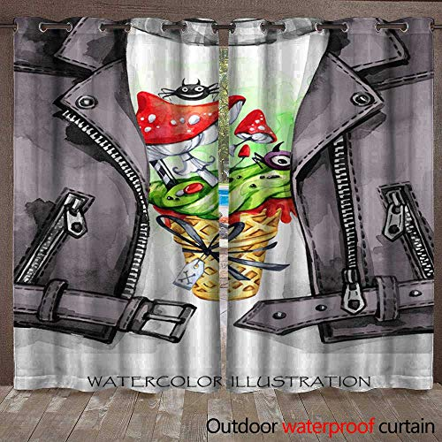 Outdoor Blackout Curtain Watercolor Fun Illustration Halloween Hand Painted Leather Jacket with Print Waffle Cone Amanitas with Poisonous Cream Rock Style Girl Ready f Waterproof CurtainW120 x L96 - Hand Painted Black Leather