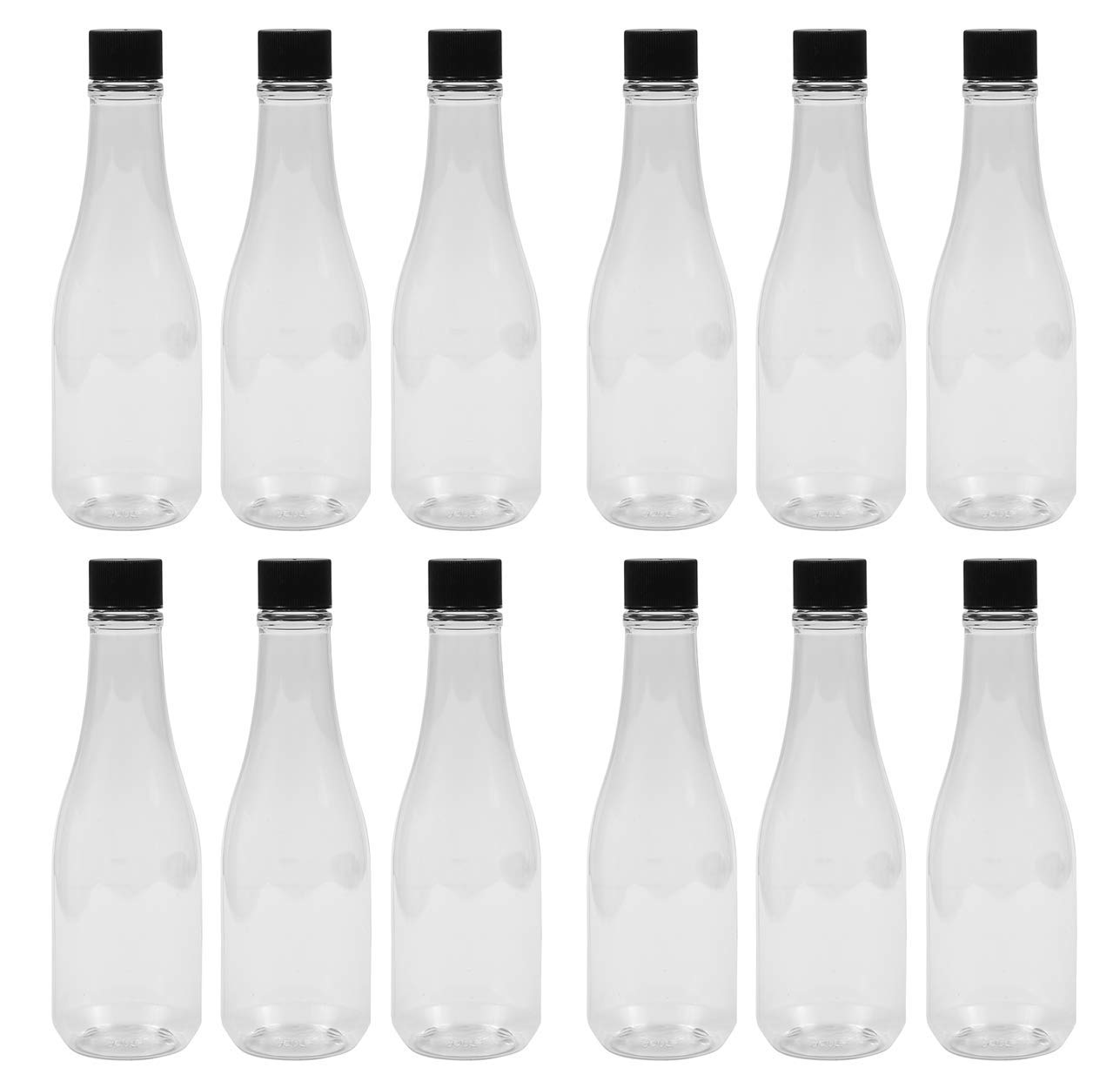 PEXALE 8 OZ Plastic pet HOT Sauce/Woozy Bottles (Black caps, 12)