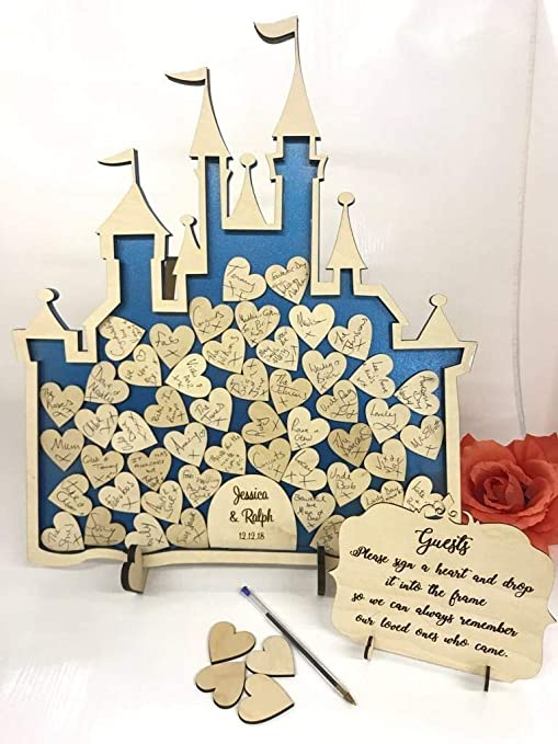 Fairy Castle 30 hearts Wedding drop box alternative guest book birthday Princess