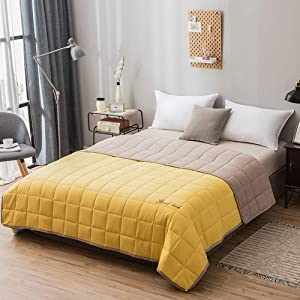 """Shozafia Weighted Blanket Adult, Natural Cotton Contrast Color Weighted Blankets with Premium Glass Beads, Two Sided (Yellow,47""""x71"""" 20 lbs)"""