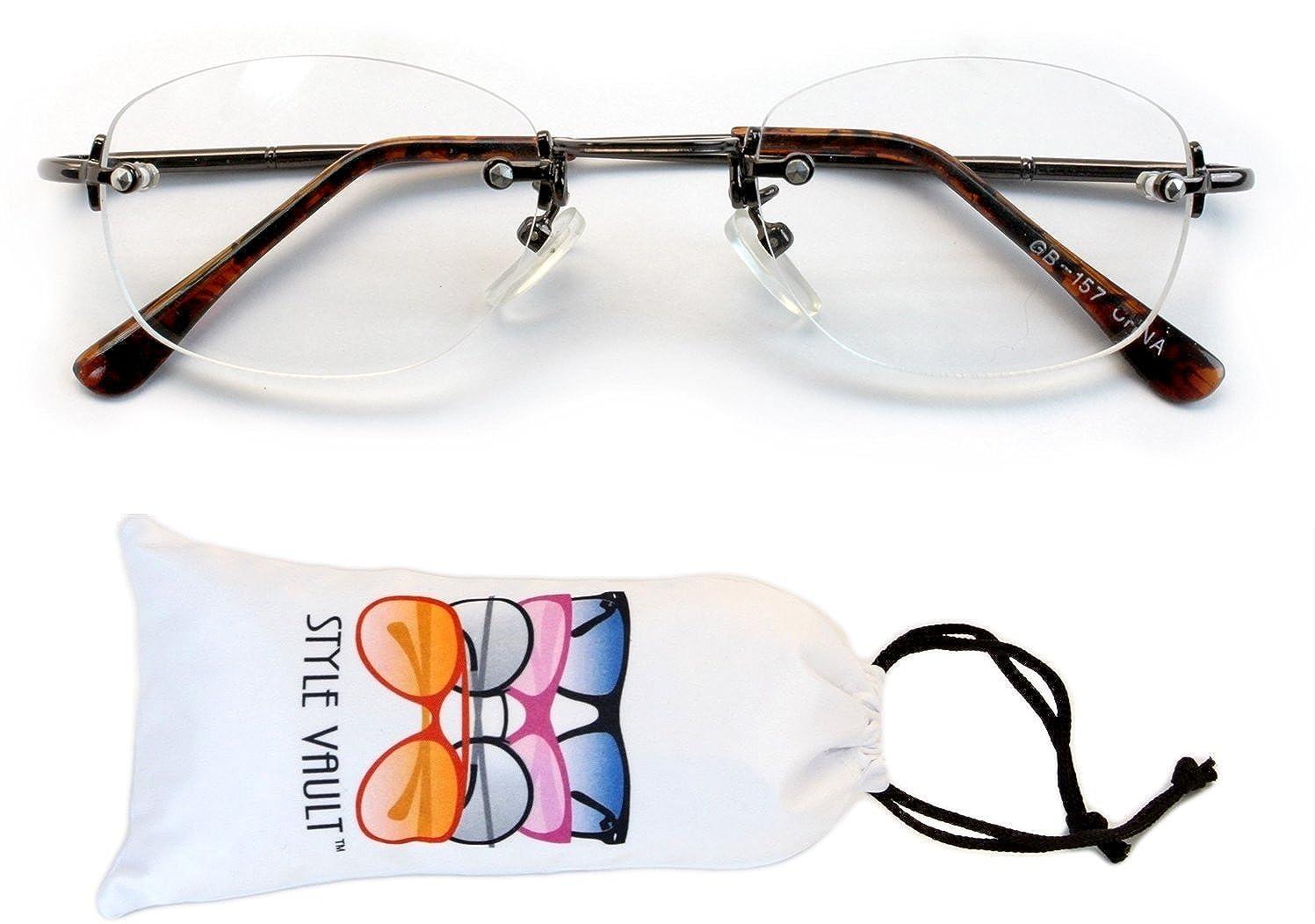 A188-vp Metal Rectangular Clear Lens Eyeglasses Sunglasses B1860F Bronze//tortoise brown-clear