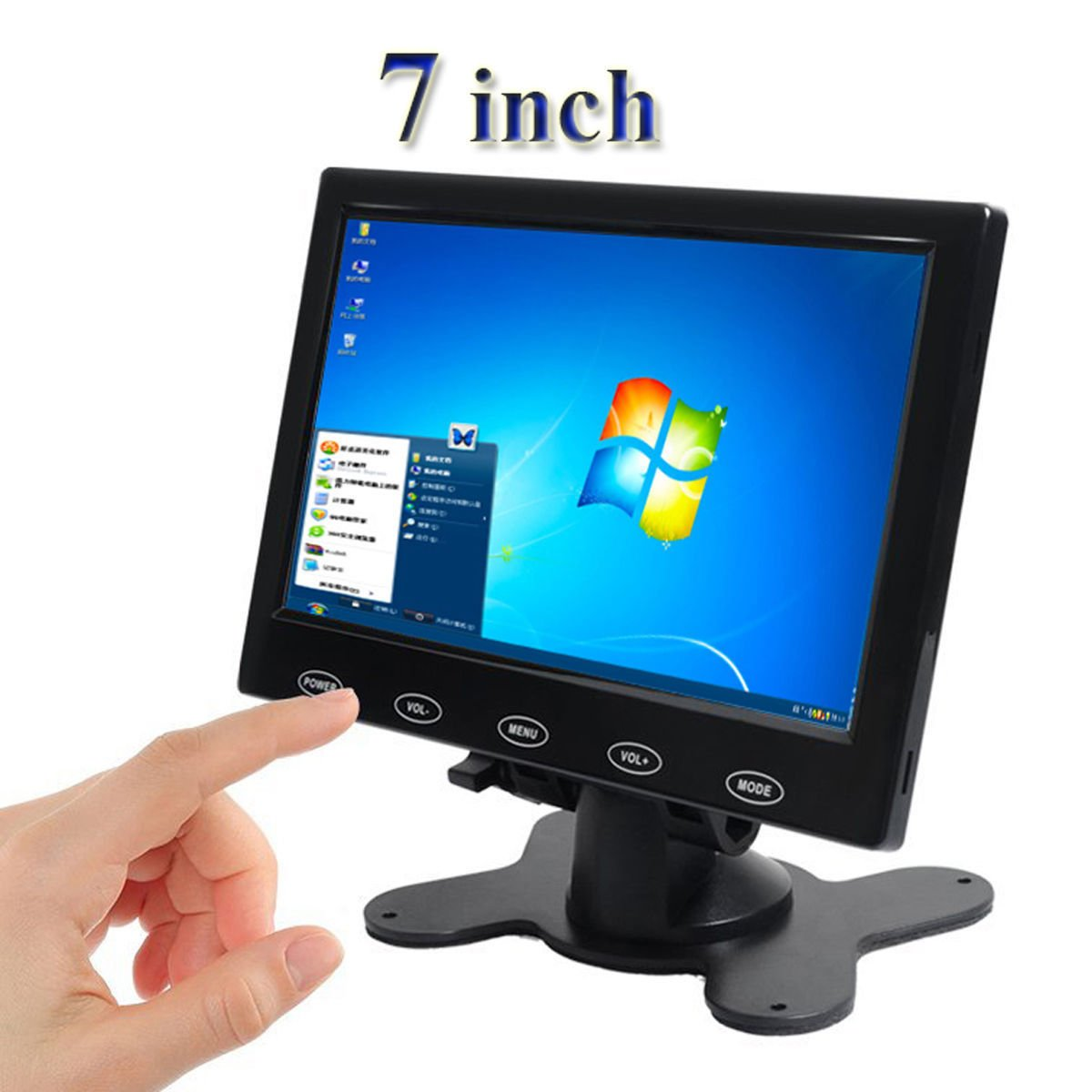 PONPY 7'' Ultra Thin 16:9 HD 800x480 Color TFT LCD Display Headrest Monitor Touch Button Monitor Screen with AV HDMI VGA Video Input