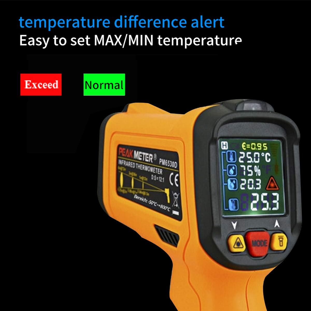 Laser Infrared Thermometer,HANMER Non Contact Temperature Gun Instant-Read -58 ℉to 1472℉with LED Display K-Type Thermocouple for Kitchen Cooking BBQ Automotive and Industrial PM6530D Thermometer by HANMATEK (Image #2)