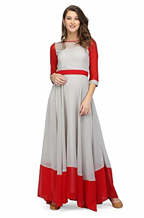 224ad6e5be3 RADANYA Women s Long Dress Indian Bollywood Designer Gray Red Stylish  Georgette Fabric Party Wear Dress S-XXL at Amazon Women s Clothing store