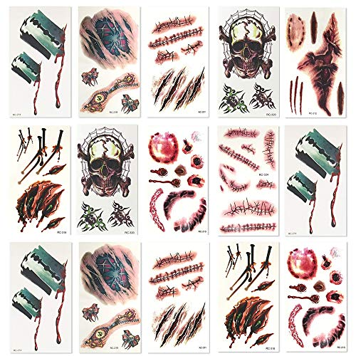 The Twiddlers 8 Sheets of Temporary, Fake Tattoos! – Perfect Halloween Costume Accessory – 3D Gory Make up Effects – Super Authentic! for $<!--$8.99-->