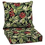 Garden Treasures 2-Piece Sanibel Black Tropical Deep Seat Patio Chair Cushion