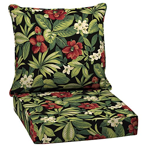 Garden Treasures 2-Piece Sanibel Black Tropical Deep Seat Patio Chair Cushion by Garden Treasures