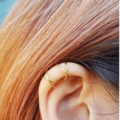 (Sterling 925 Silver 4pcs No Piercing Earcuff (2 pcs Double line ,2 pcs Criss Cross ) Simple Gold Plated Fake Helix Ear Cuff Cartilage Earring Color Gold)
