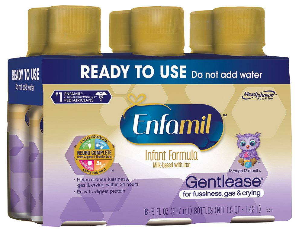 Enfamil Gentlease Infant Formula - Clinically Proven to reduce fussiness, gas, crying in 24 hours - Ready to Use Nursette Bottles, 8 fl oz (24 count) MJ-141C