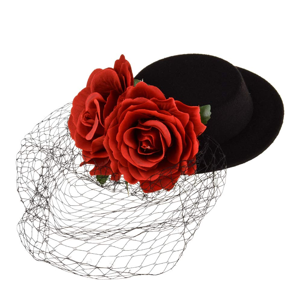 NUOBESTY Rose Flower Fascinator Hair Clip Wedding Cocktail Party Veil Fascinator Hat Mesh Net