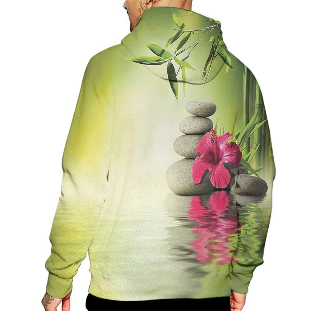 Hoodies Sweatshirt/Men 3D Print Spa,Stones and Bamboo Leaves on The Water Pool Meditation Freshness Relaxing Theme,Apple Green Magenta Sweatshirts for Teen Girls