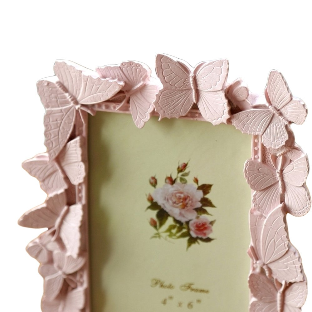 WAIT FLY 4 x 6 In Beautiful Pink Butterfly Shape Resin Photo Frame Picture Frame for Table Top Display Best Gift for Friends Kids