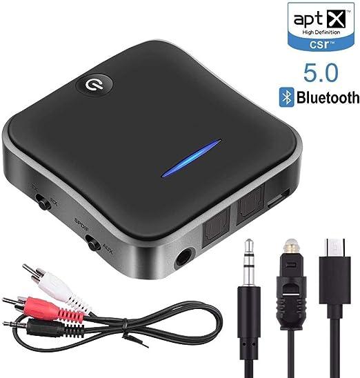 FOONEE Transmisor Receptor Bluetooth 5.0, Transmisor Audio inalámbrico, aptX HD/aptX LL Baja Latencia Adaptador Bluetooth, Toslink/RCA/AUX Cable, para TV/Sistema Estéreo: Amazon.es: Hogar