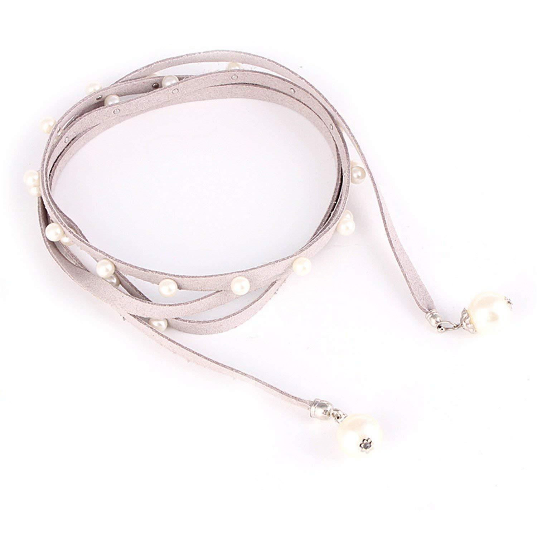 Beautface Makeup Fashion ladies pearl chain belt women dress female leather belts,155cm,Beige3