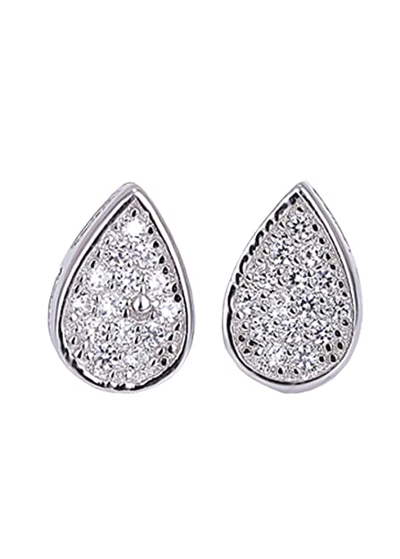 ccbde7bf0 Amazon.com: LOYUER S925 Sterling Silver Happy Tear Drop Full of CZ Diamonds  Stud Earrings for Womens Girls Wedding Dress (Platinum): Jewelry
