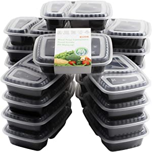 20 Pack Bento Box, [32 oz] 2 Compartment Meal Prep Containers with Lids -Food Storage Containers BPA Free Plastic, Lunch Containers, Microwavable, Freezer and Dishwasher Safe