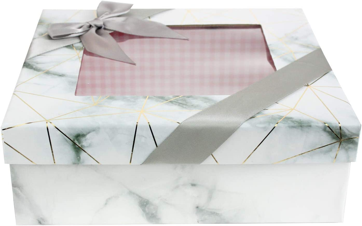 Rosa Kariertes Interieur Klares Oberteil Und Satinschleifenband Emartbuy Starre Quadratische Luxus-Pr/äsentations Geschenkbox Wei/ßer Marmor Effekt Mit Goldenen Origami-Linien 20 cm x 20 cm x 8 cm