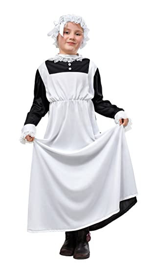 Bristol Novelty CC863 Victorian Maid Costume, White, Medium, 134 cm, Approx Age 5 - 7 Years, Victorian Maid. 134cm