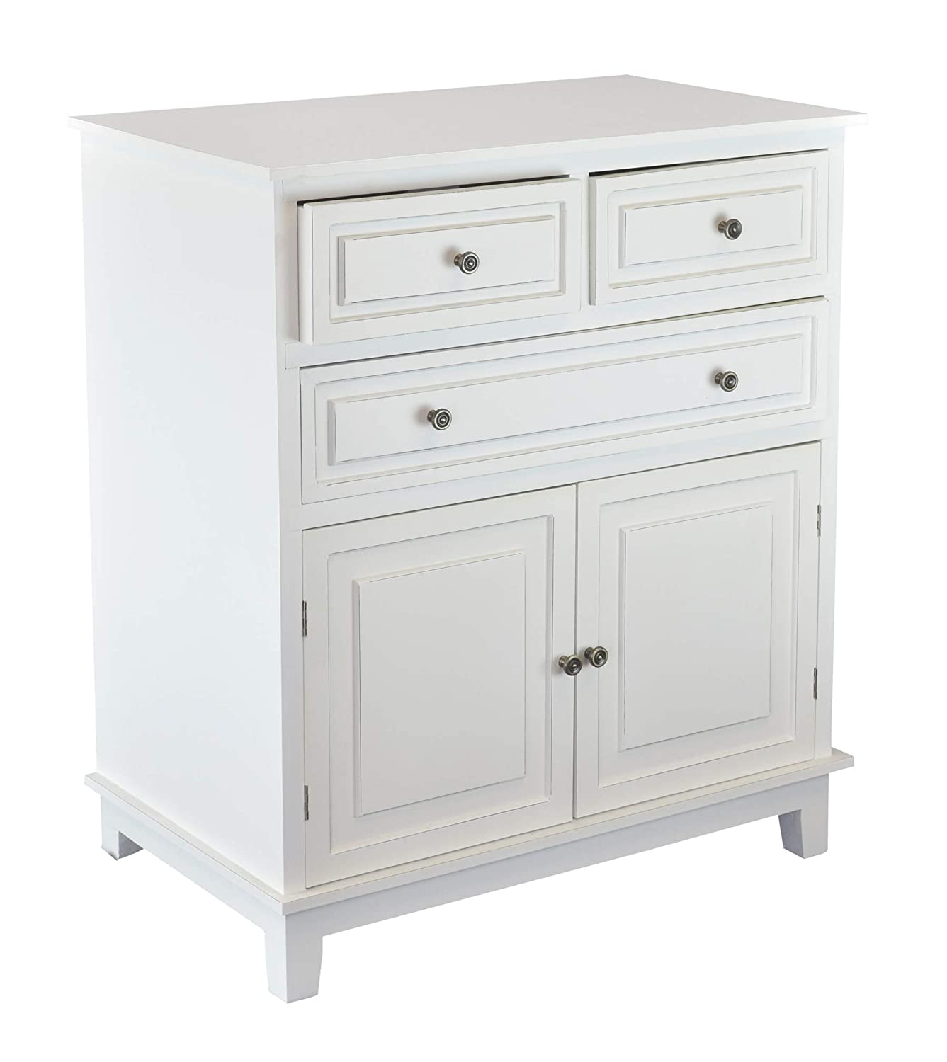 Chest of Drawers White Dressers Side Cabinet Table for Bedroom Livingroom  33 in. 3-Drawers 2 Doors