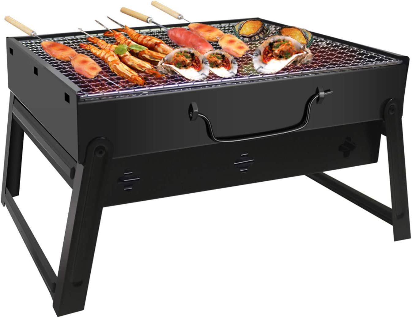 BBQ Smoker Grill for Outdoor Cooking Camping Hiking Party Black JiaDa Portable Charcoal Barbecue Grill