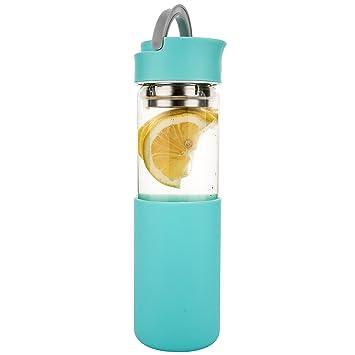 Life4u Cristal de Borosilicato Botella de Agua con Funda de Silicona y Colador, 510 ml