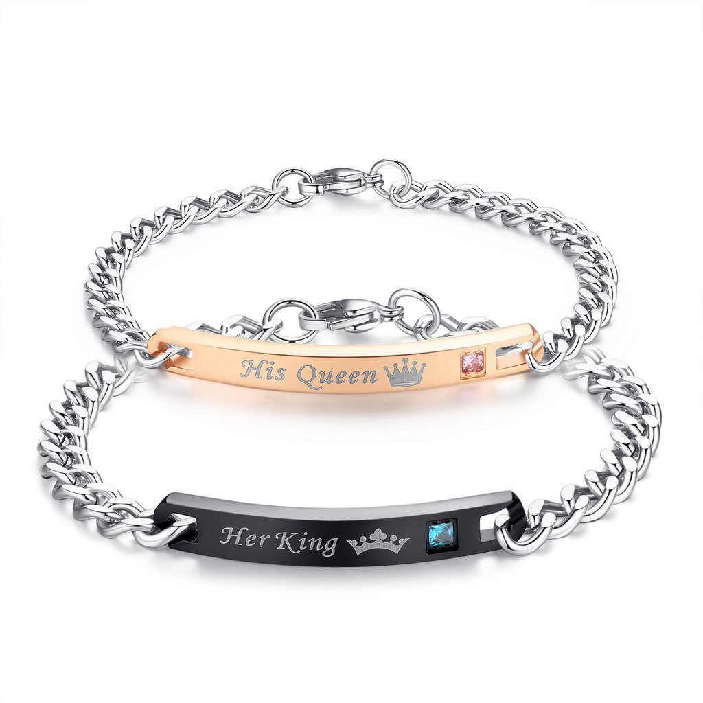 48fec7bbde Amazon.com: COAI Anti-Scratch Matte Stainless Steel His Queen Her King  Relationship Couple Bracelet: Jewelry