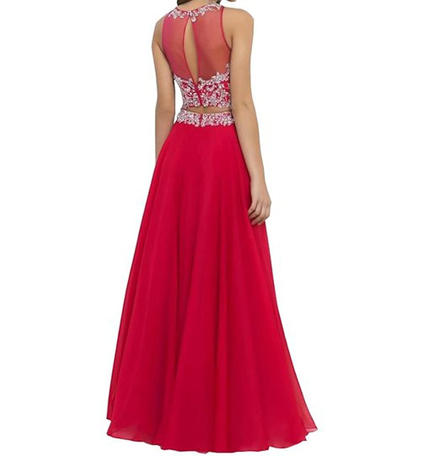 Amazon.com: JB Womens Chiffon Two Pieces Beaded Prom Dress Formal Gown JB075: Clothing