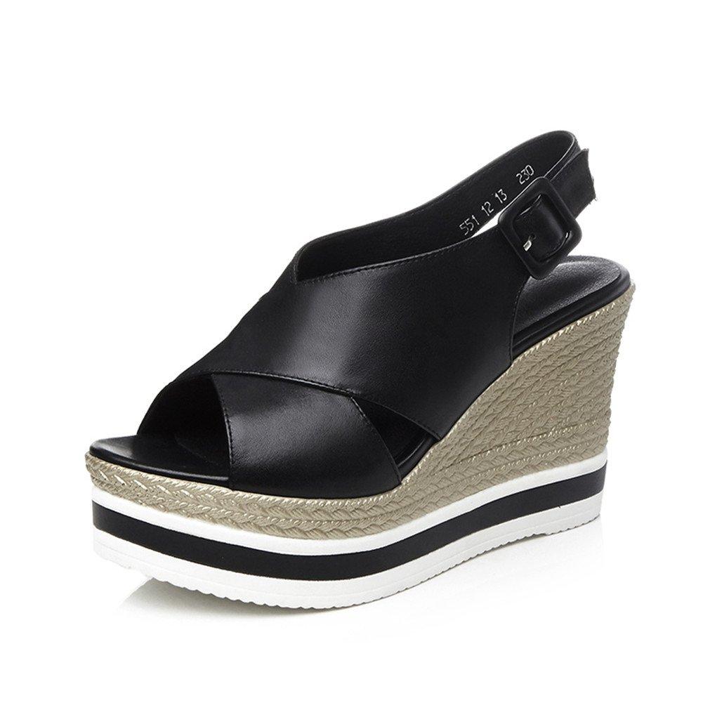 Nine Seven Women's Open Peep Toe Wedges Sandles - Handmade Buckle Sling Back Comfort Fashion Shoes B07DJ5MMJW 7 B(M) US|Black Leather