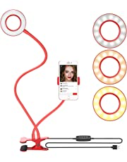 Neewer Clamp-on Selfie Ring Light with Cell Phone Holder for Live Stream, Dimmable (3-Light Mode,8-Level Brightness) with Lazy Bracket for YouTube, Facebook, iPhone 8/7/6S, Samsung, HTC (Red)