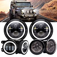 "6PCS Kit Projection Lens Angel Eye DOT 7Inch Round LED Headlights With DRL Amber Turn Singal Hi/Lo Beam + 4"" Halo Fog Lights + Front LED Turn Signal Light Assembly For 2007-2017 Jeep Wrangler JK JKU"