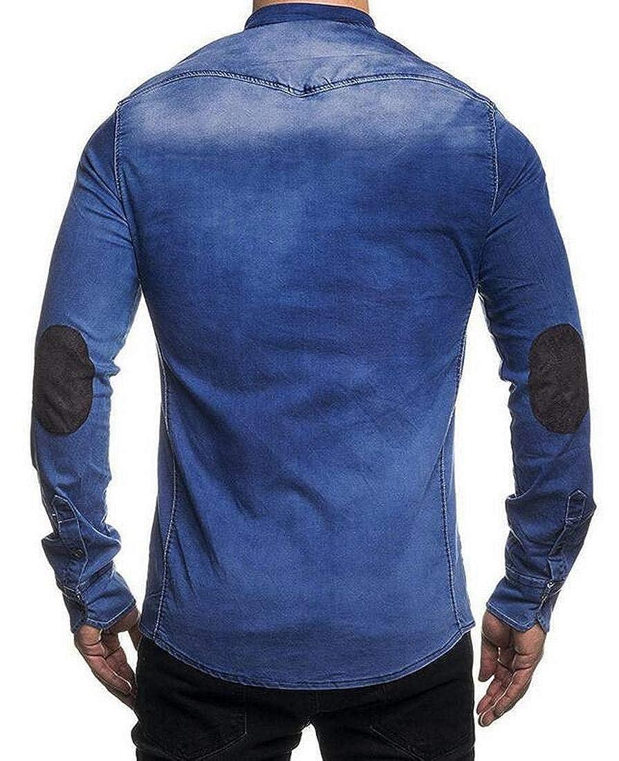 Hilization Mens Jeans Cotton Long Sleeve Faux Suede Patchwork Button Down Shirts