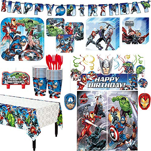 Avengers Superhero Birthday Party Kit, Includes Happy Birthday Banner and Decorations, Serves 16, by Party City -