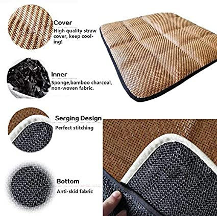 DGQ Breathable Car Interior Seat Cushion Black Non-Slip 3+2 Universal Fit Full Set Car Seat Covers Pad Mat for Auto Supplies Office Chair with Bamboo Charcoal Leateck seat cushion 3+2