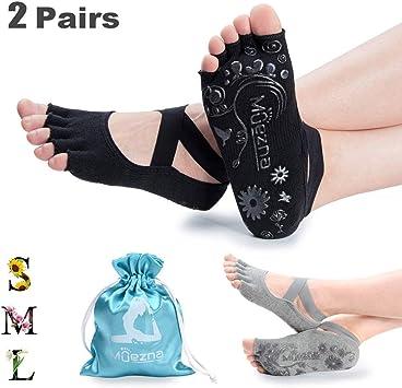 Amazon.com: Muezna Calcetines de yoga antideslizantes para ...