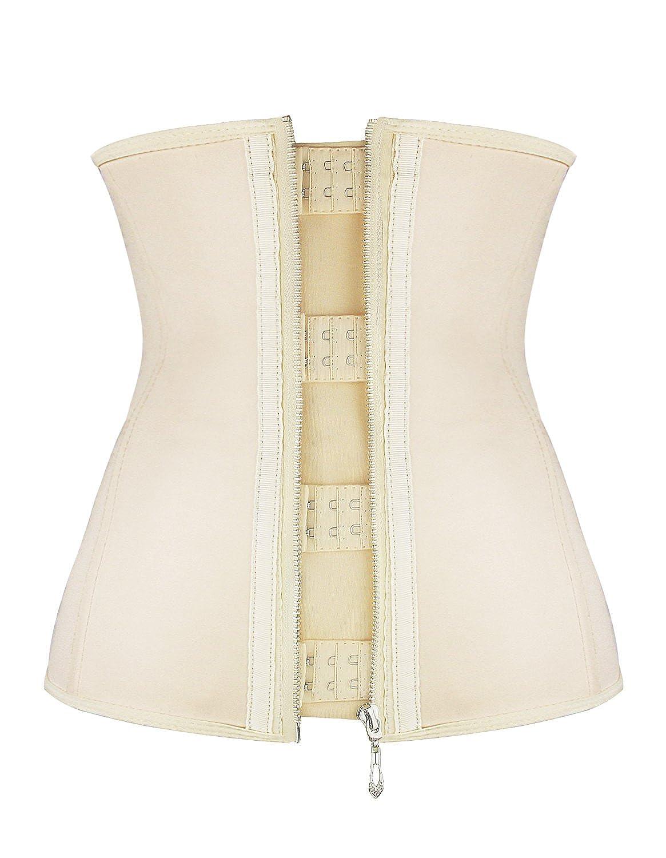 Burvogue Women's Zipper and Hooks Latex Waist Trainer Corset Body Shapewear