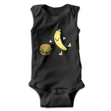 Bebé plátano comer harmburger zapatos sin mangas Pelele Mono Negro ...