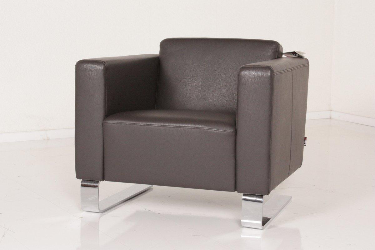 Brühl Sessel Einzelsessel Serge Leder braun mit Freischwingerkufen