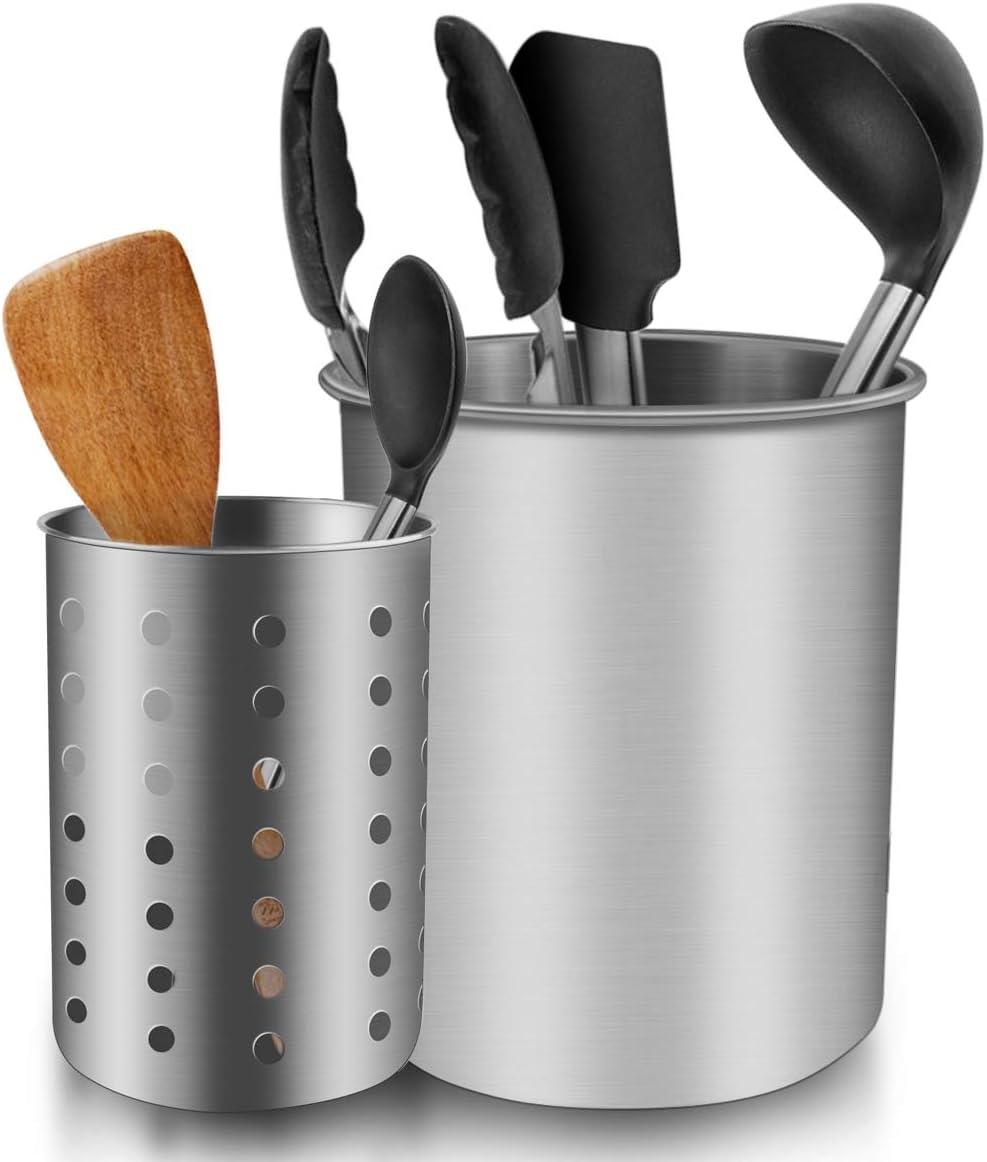 Kitchen Utensil Holder, ENLOY Stainless Steel Rust Proof Kitchen Utensils Holder Organizer for Forks, Spoons, Knives, Kitchenware, Dishwasher Safe, Set of 2: Home Improvement