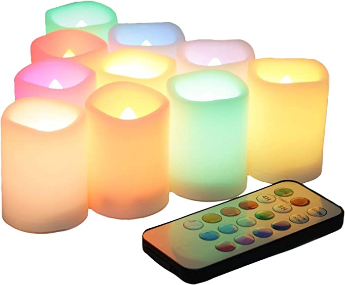 EcoGecko Set of 10 Flameless LED Color Changing Votive Candles with Remote and Timer, Batteries-Included, Melted Edge, Multiple Colors