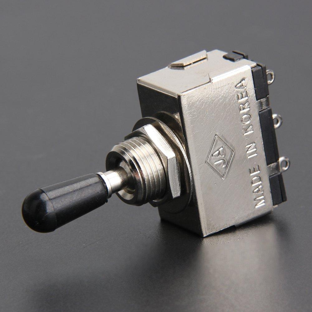 PQZATX Interruptor de palanca de seleccion de recogida de plata de 3 vias con punta negra