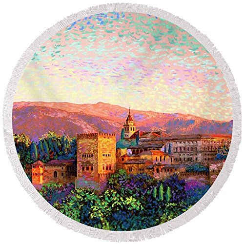 Pixels Round Beach Towel With Tassels featuring ''Alhambra, Grenada, Spain'' by Jane Small by Pixels