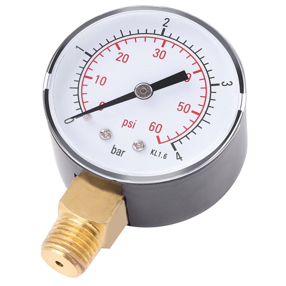 1 ST/ÜCK tragbare Mini Manometer Manometer f/ür Fuel Air Oil oder Wasser 0-4bar Manometer 0-60psi NPT