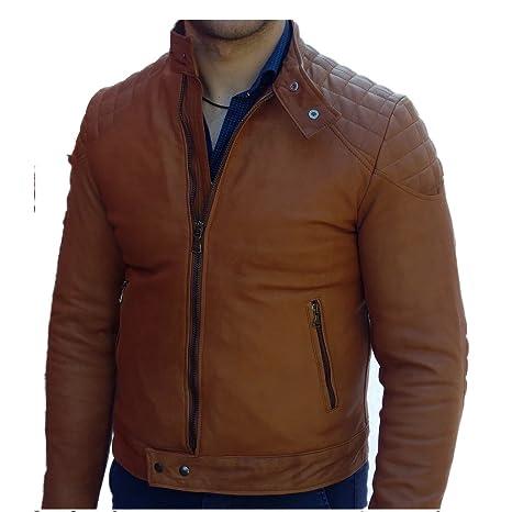 Chaqueta de hombre Artesanal, chaqueta de piel auténtica Mod.morris-marrone