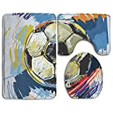 EWFXZq Soccer Football Vector Fashion Bathroom Rug Mats Set 3 Piece Anti-skid Pads Bath Mat + Contour + Toilet Lid Cover