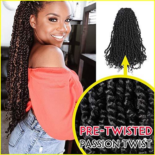 7 Packs Pre-twisted Passion Twist Hair Pre-looped TIANA Passion Twist Crochet Braid Passion Twist Crochet Hair Hair Extensions (20inch, 1B)